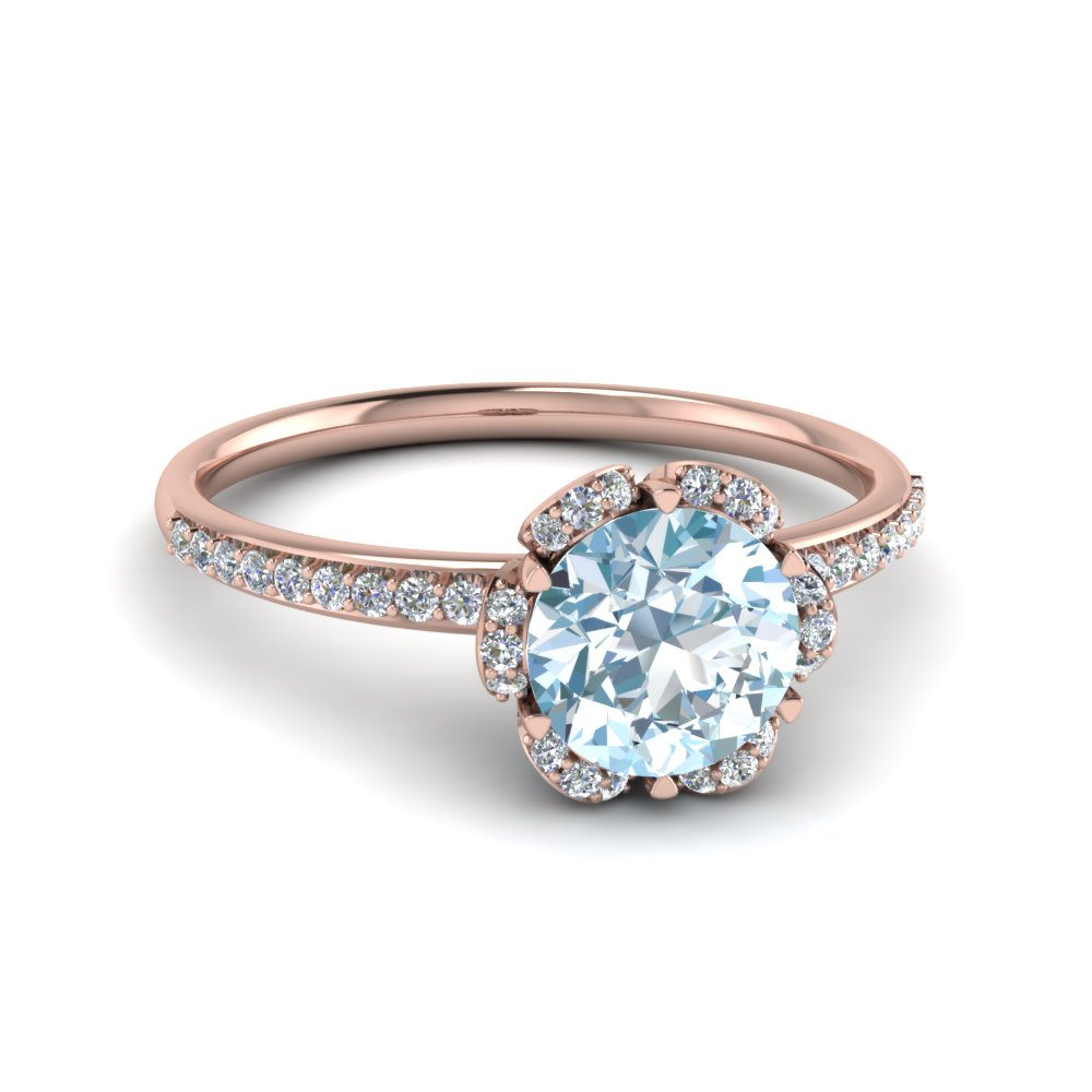 Blue Aquamarine Rose Gold Gemstone Engagement Ring
