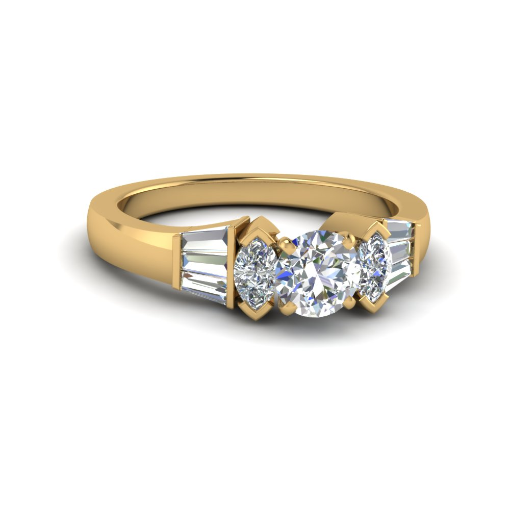 Round Diamond Tapered Baguette Ring