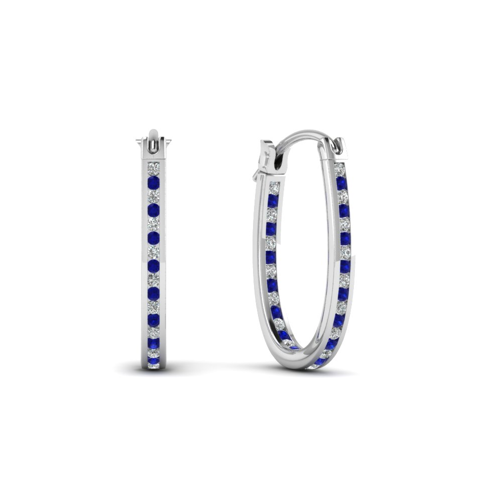 Hoop Earrings With Blue Sapphire