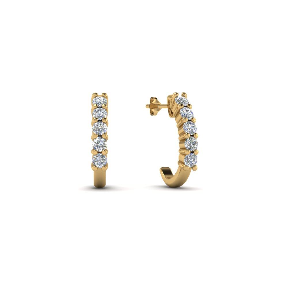 J gold hoop diamond earring for women