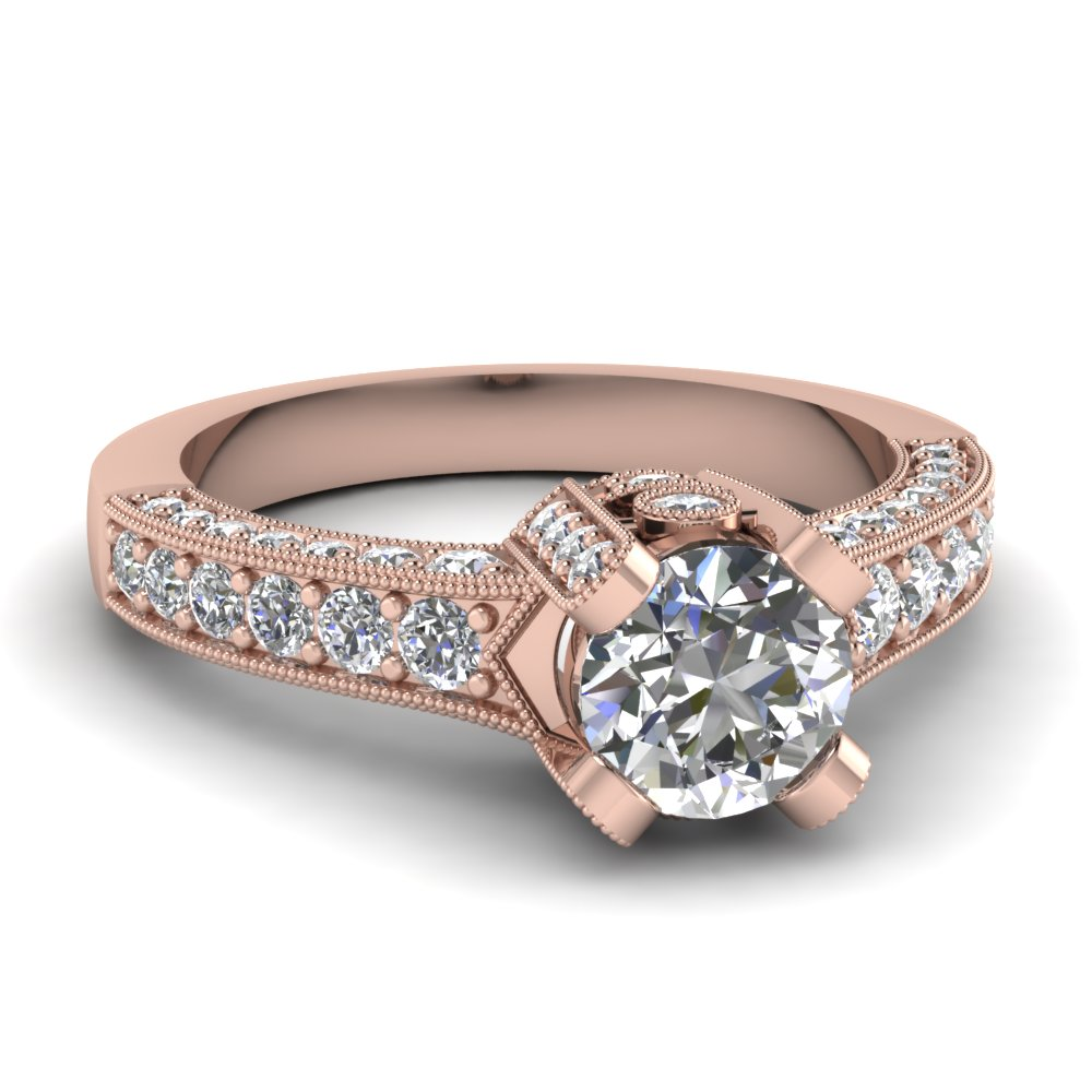 Prong Pave Diamond Pink Gold Ring