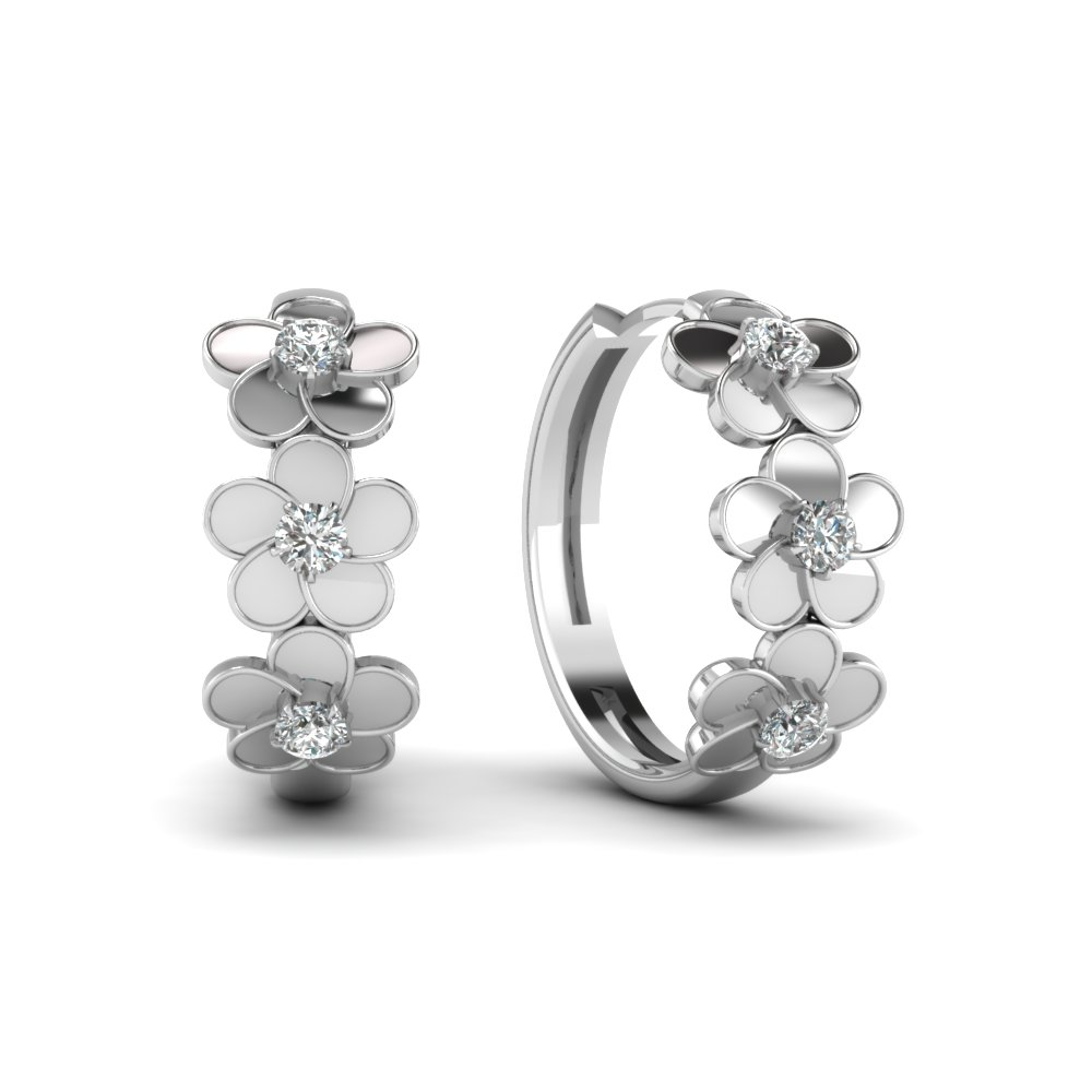 Blossom Diamond Hoop Earrings
