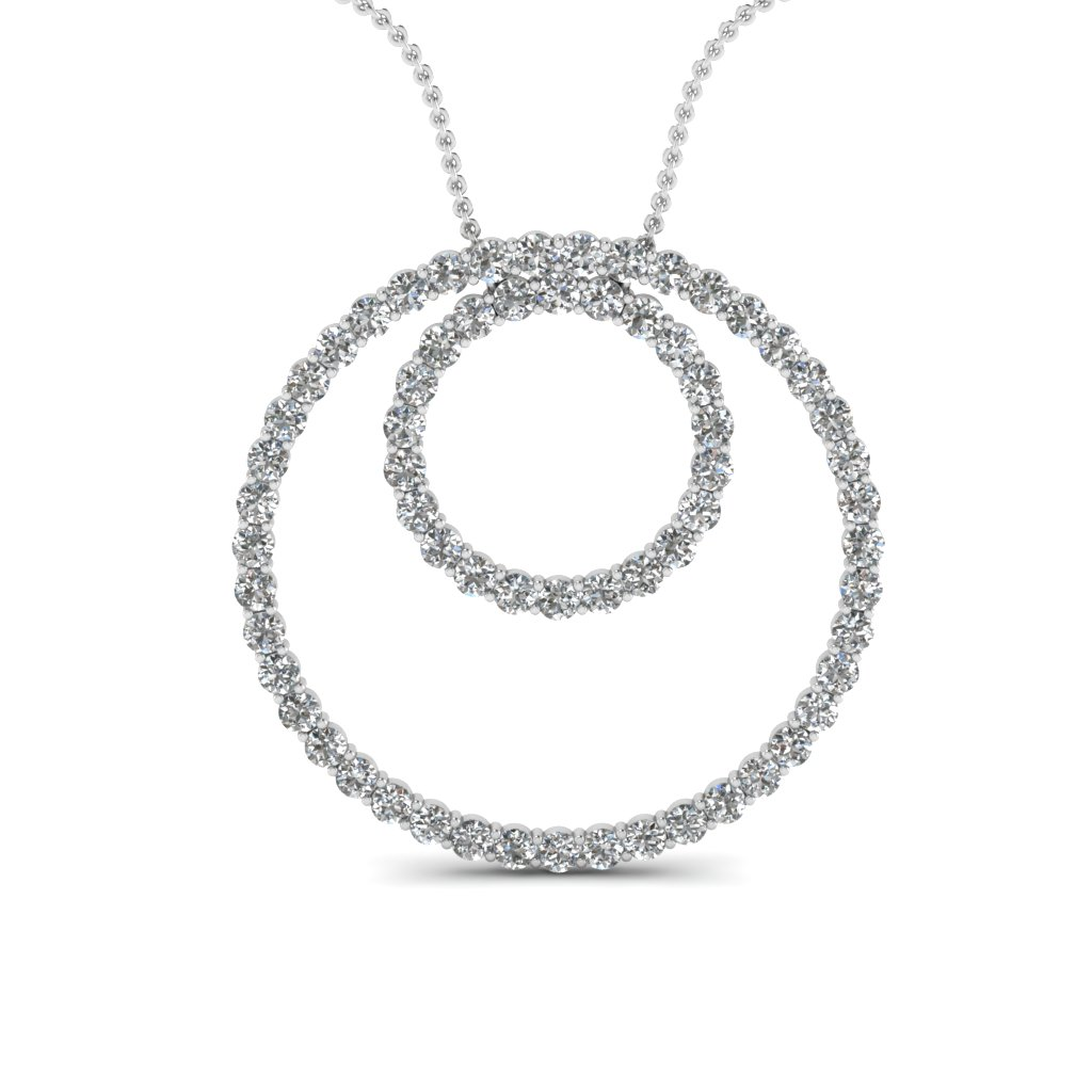 Open Double Circle Diamond Pendant