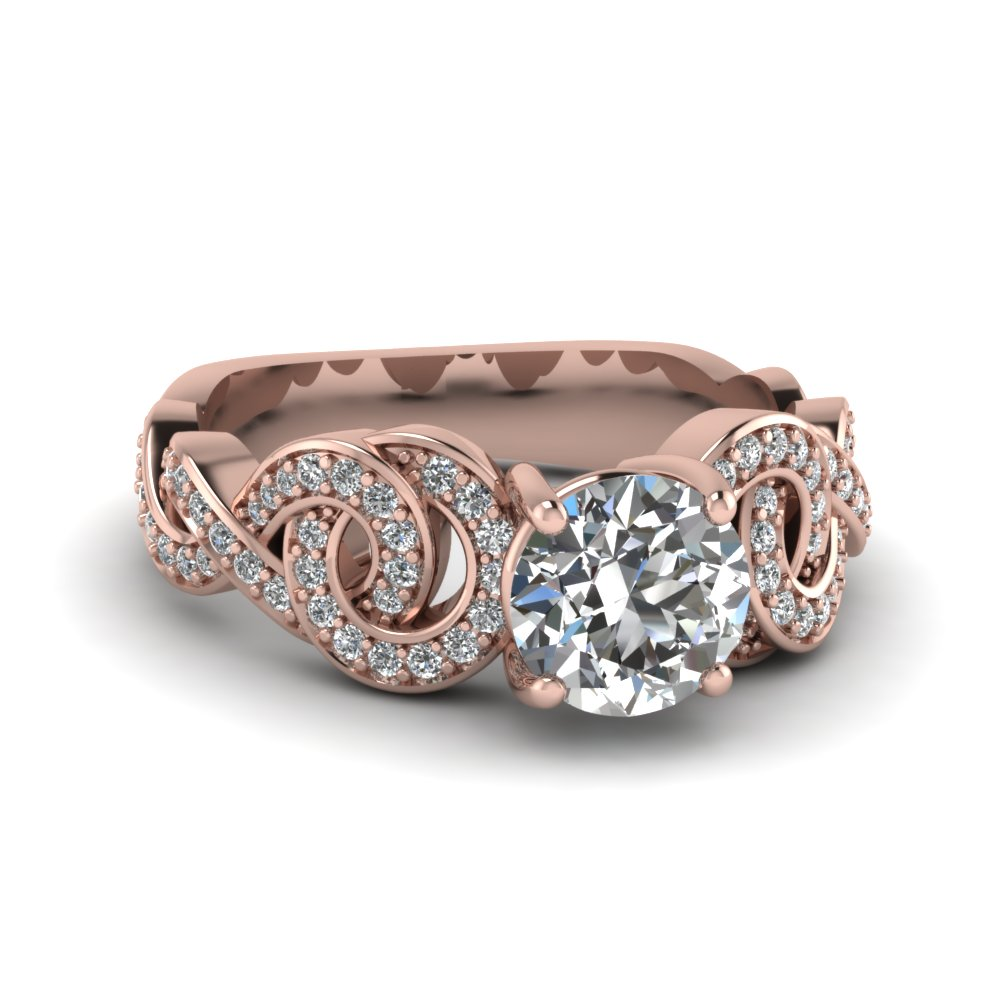 Interwoven Diamond Anniversary Pink Gold Ring