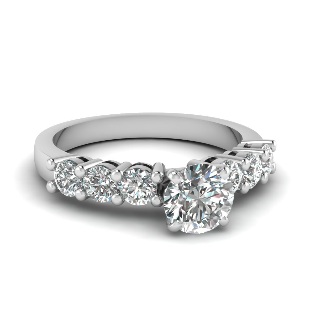 Round Diamond Brilliant Round Accents Engagement Ring