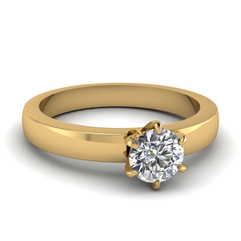 Six Prong Round Diamond Solitaire Proposal Ring