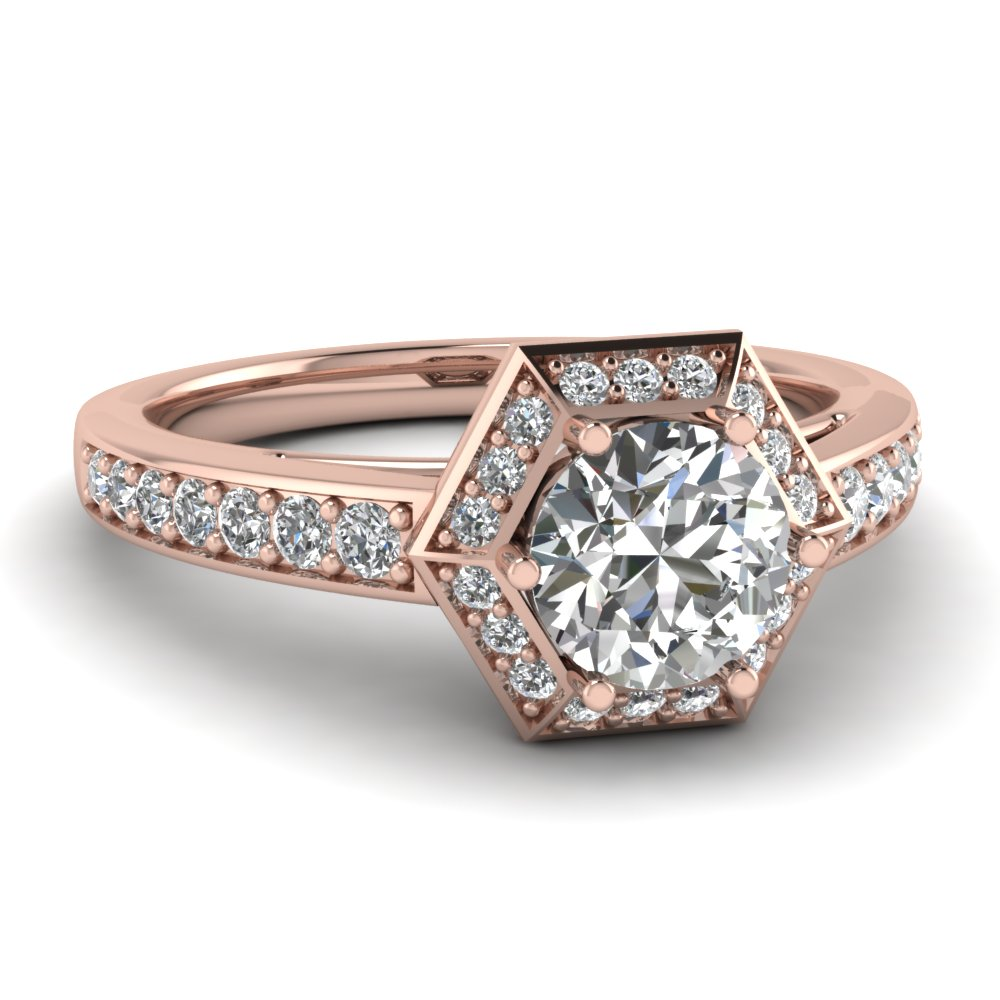 Pave Vintage Pink Gold Engagement Ring