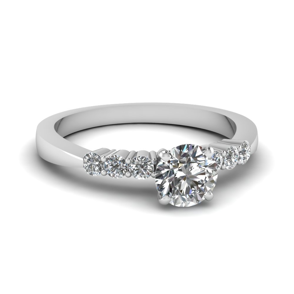 Simple White Gold Round Proposal Ring