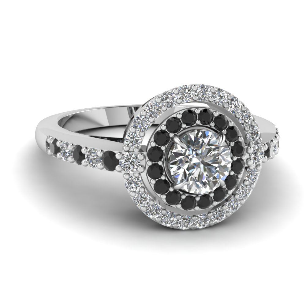 Round Black And White Diamonds Double Halo Ring