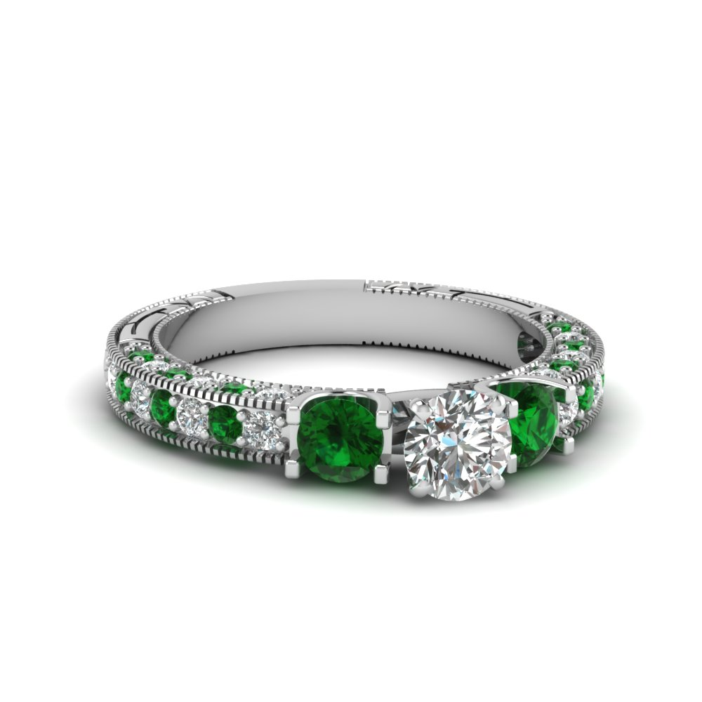 Round Cut Diamond And Emerald Milgrain Engagement Rings