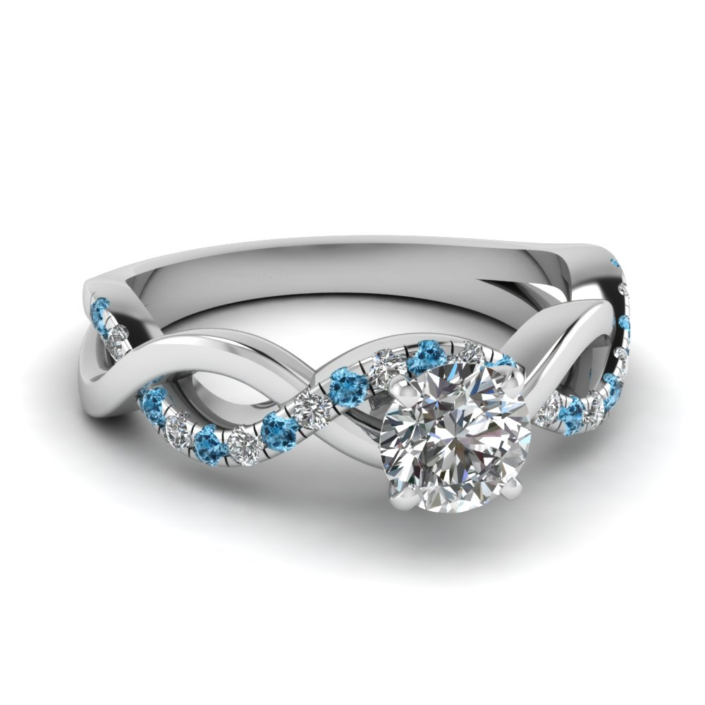 Round Diamond Blue Topaz Infinity Ring