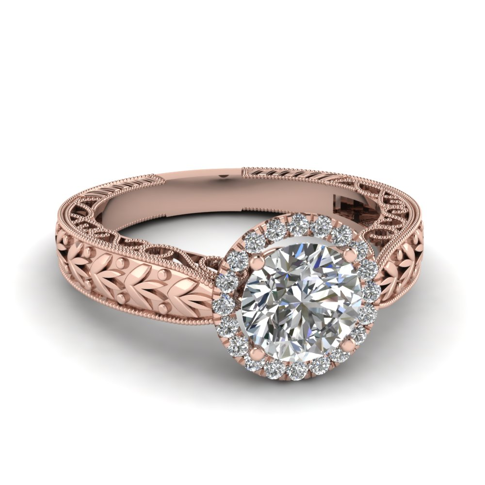 Leaf Halo Diamond Shank Pink Engagement Ring