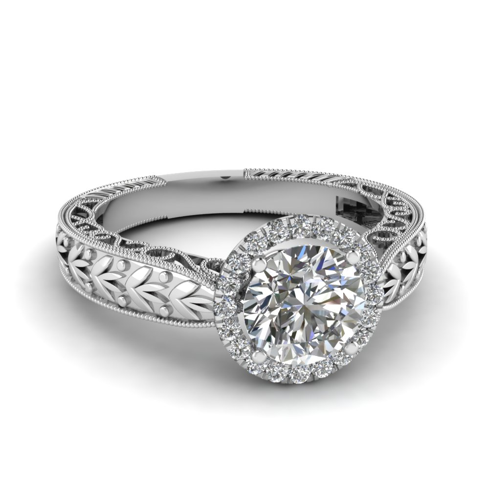 Round Halo Flower Petal Engraved Diamond Ring