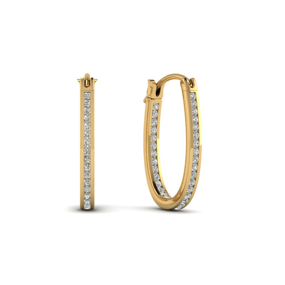 Yellow Gold Half Carat Diamond Hoop Earring