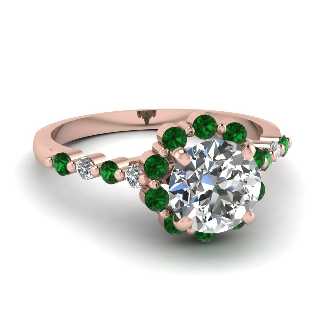 Floral Halo Emerald Pink Gold Ring