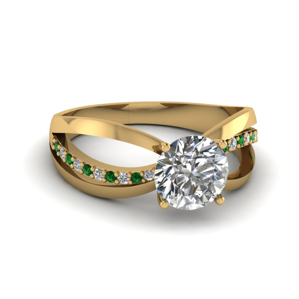 Split 14k Yellow Gold Side Stone Engagement Rings