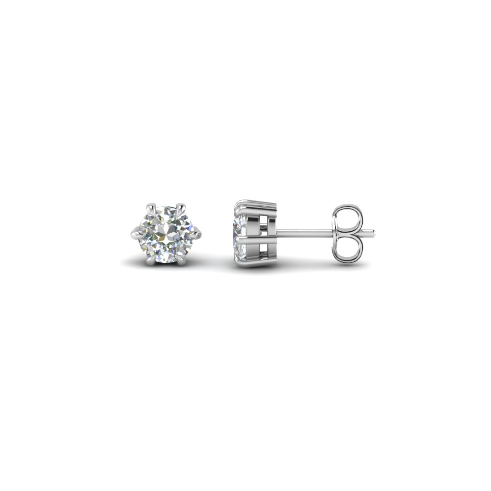Round White Gold Stud Earring for Women