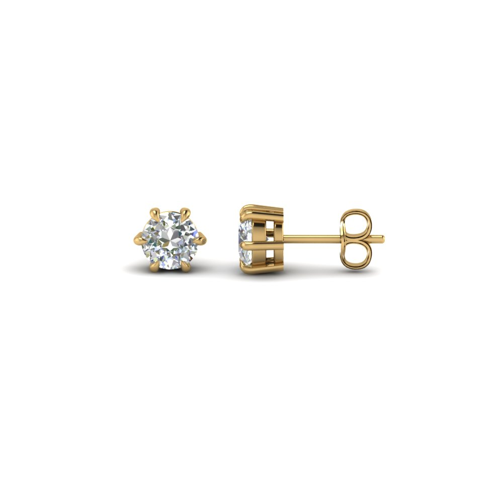 6 Prong Brilliant Diamond Stud Earrings