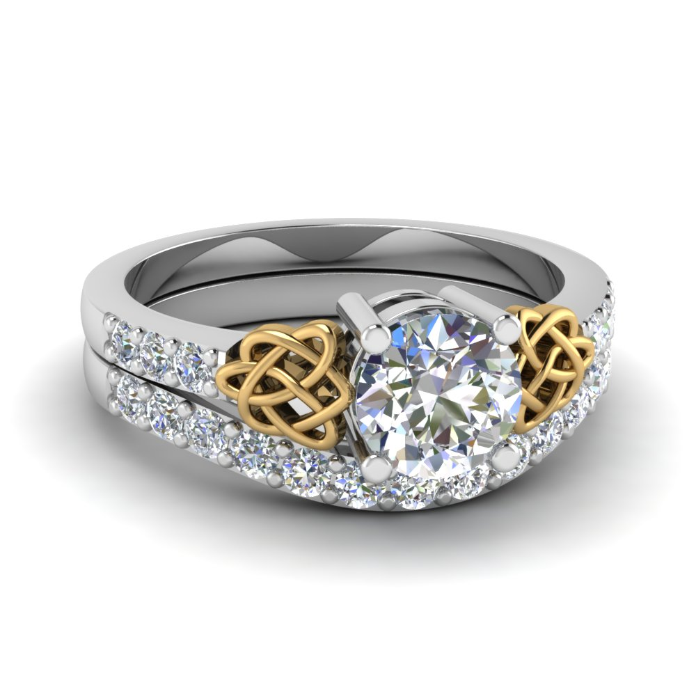 two tone engagement ring set fascinating diamonds
