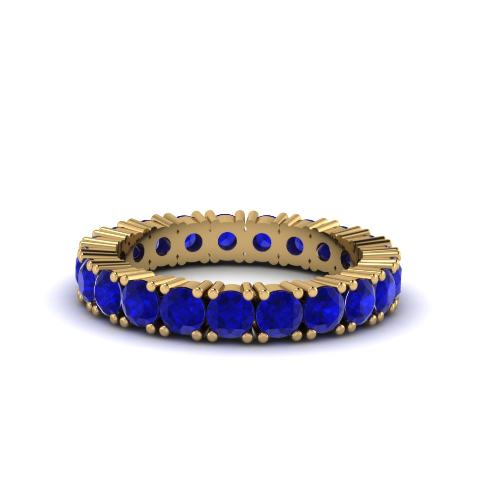 Eternity Round Sapphire Wedding Band For Women in Yellow Gold