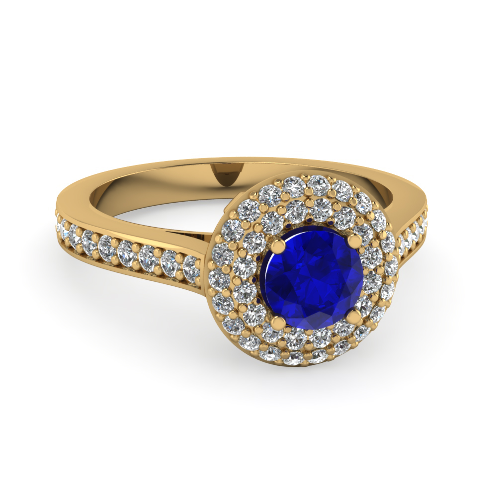 Pave Double Halo Diamond And Sapphire Gemstone Ring