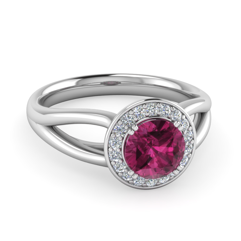 Pave Halo Split Pink Sapphire Engagement Ring in White Gold
