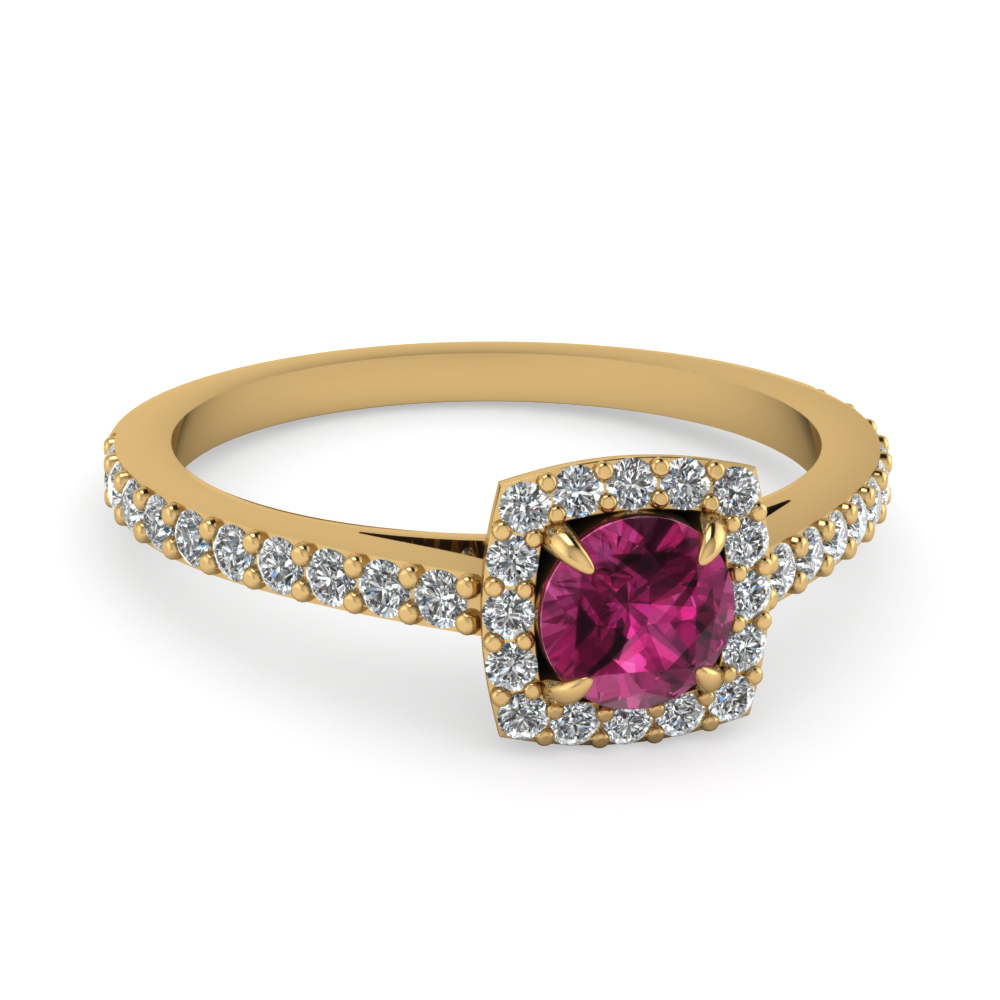 Square Halo Diamond And Pink Sapphire Gemstone Ring