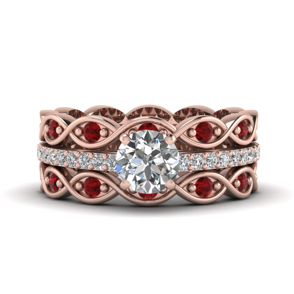 Infinity Eternity Pink Gold Band Diamond Ring Sets