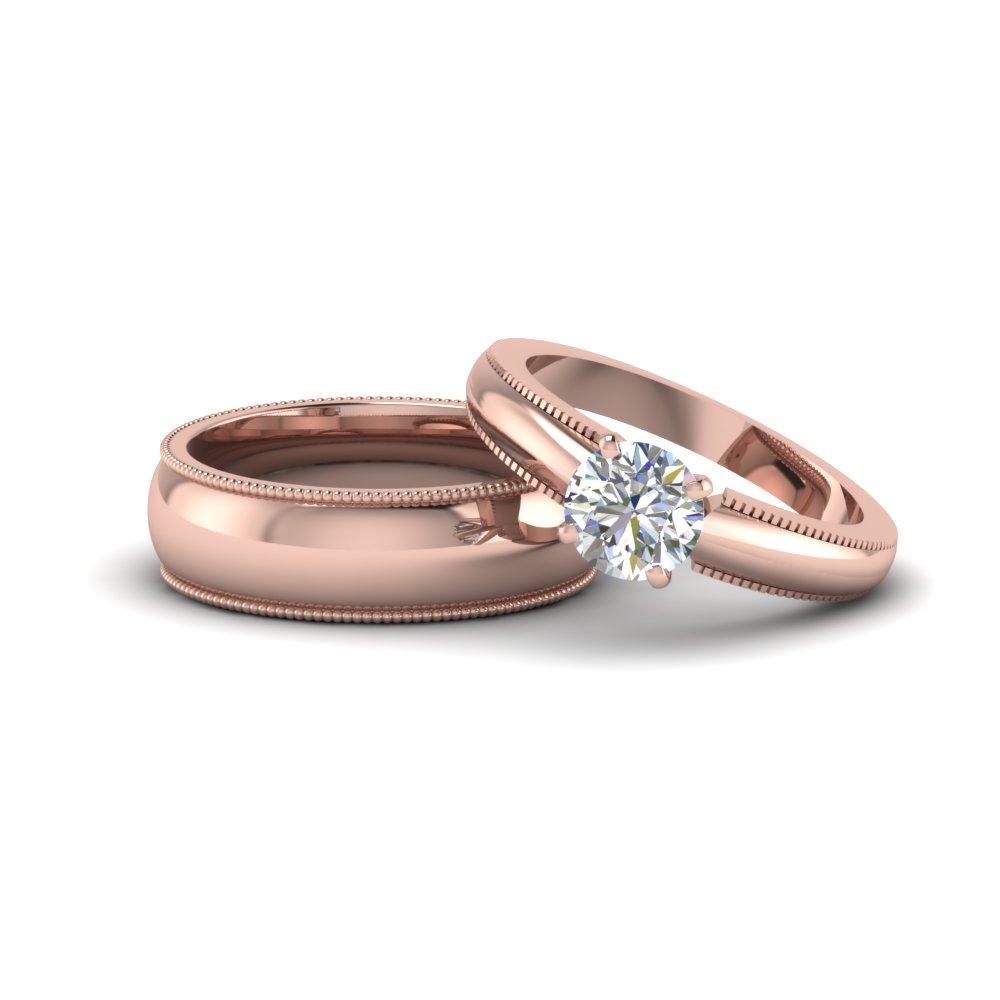 Round Matching Wedding Rings for Couples