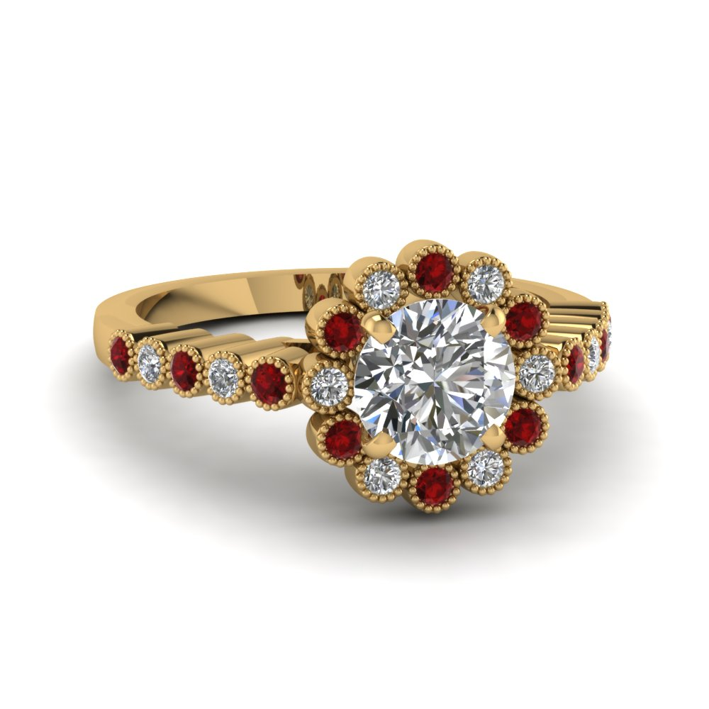 Milgrain Round Bezel Set Ruby Floral Engagement Ring