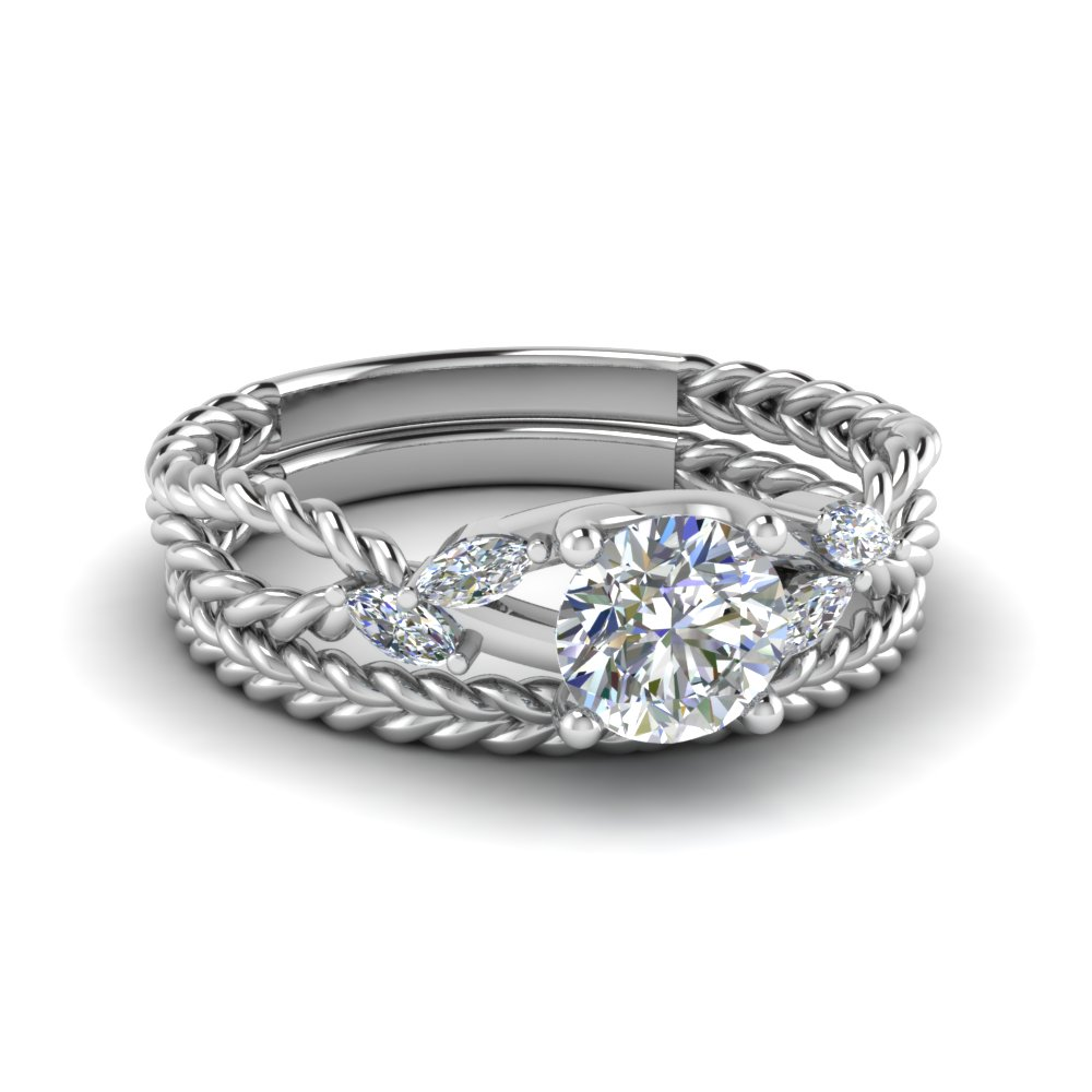 round cut twist rope design diamond bridal ring sets in 18K white gold FD1099RO NL WG