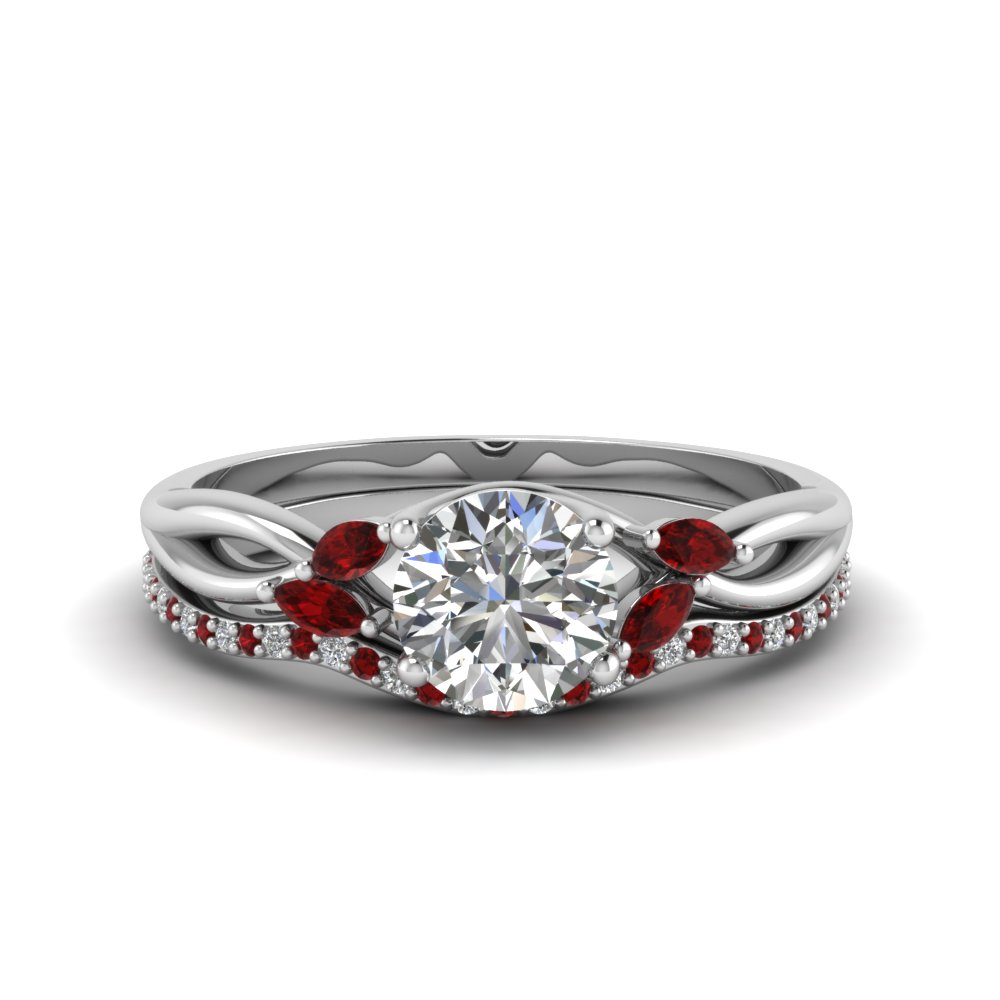 round cut twisted diamond bridal set with ruby in 14k white gold
