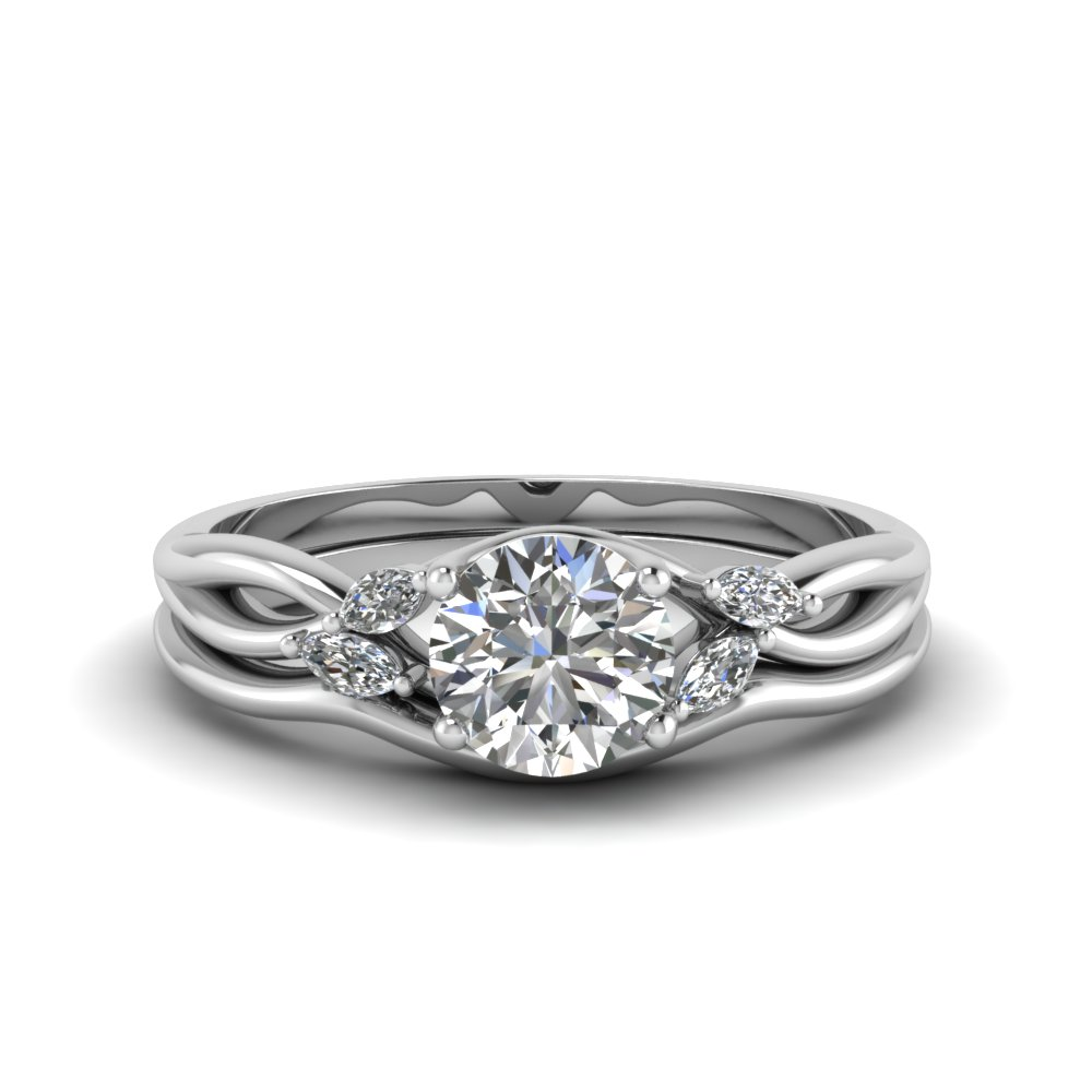 round cut twisted diamond ring with matching curved band in 14K white gold FD8300RO NL WG