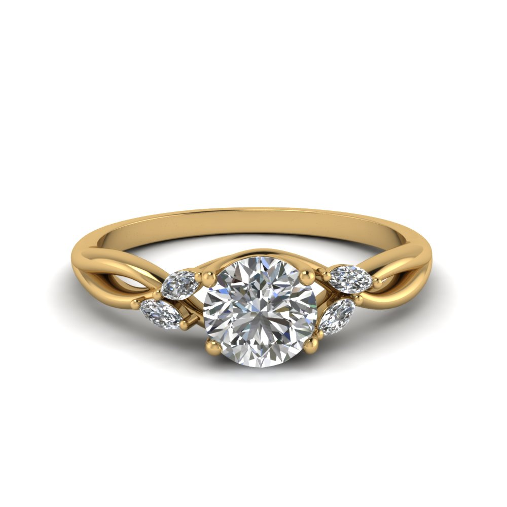 round cut twisted petal diamond engagement ring in FD8300ROR NL YG
