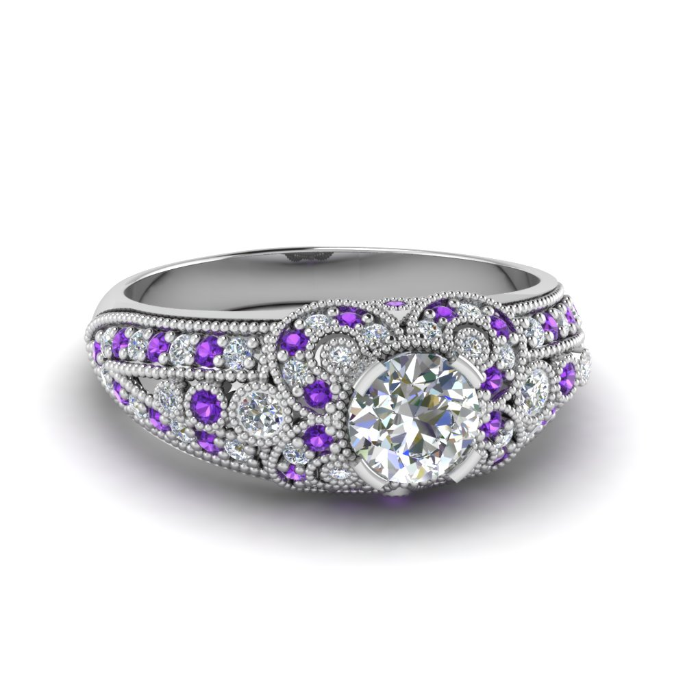 Milgrain Flower Diamond Ring
