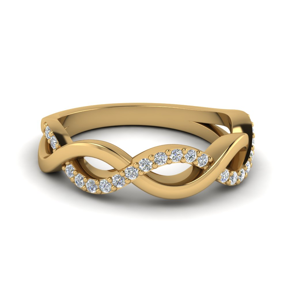 Yellow Gold Infinity Diamond Wedding Band