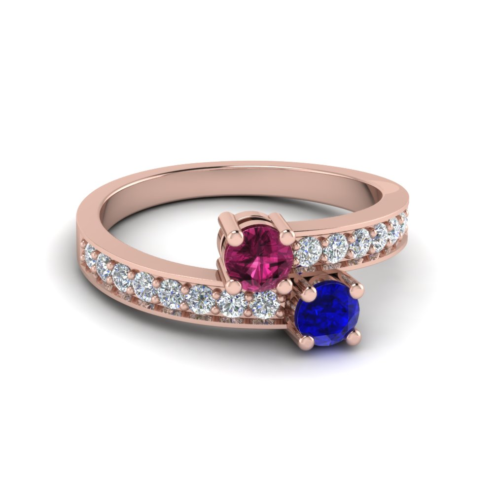 Sapphire 2 Stone Pave Diamond Engagement Ring in Rose Gold