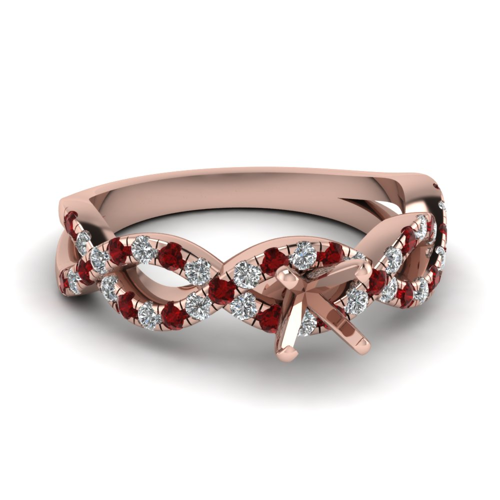 Ruby And Diamond Infinity Engagement Ring Setting