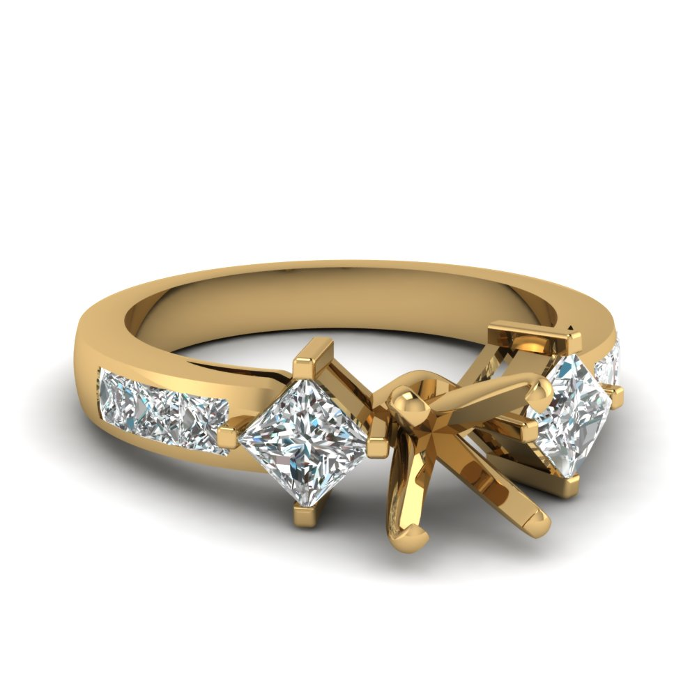 Yellow Gold Princess Cut Side Accents Semi Mount Engagement Ring