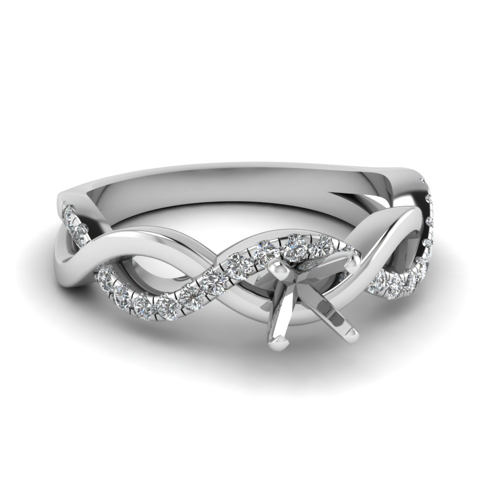 White Gold Twist Style Diamond Ring Settings