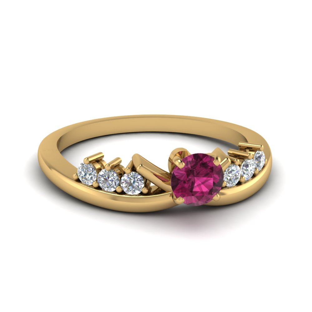 Seven Stone Floral Pattern Sapphire Ring in Yellow Gold