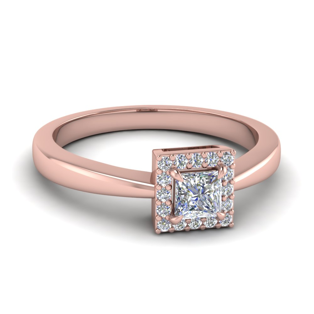 Princess Cut Engagement Ring In 14k Rose Gold Square Halo Diamond Ring