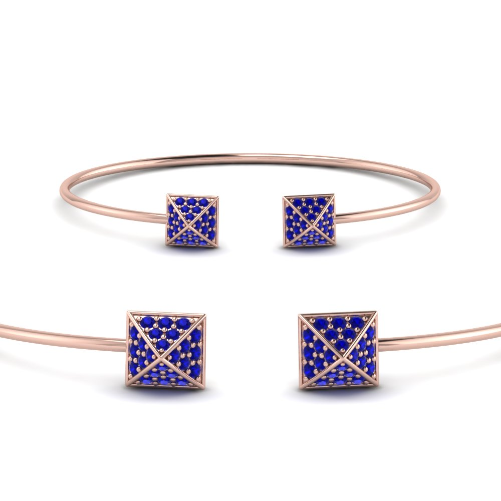 square pave diamond open cuff bracelet with blue sapphire in FDDCMJ2610BGSABLANGLE2 NL RG