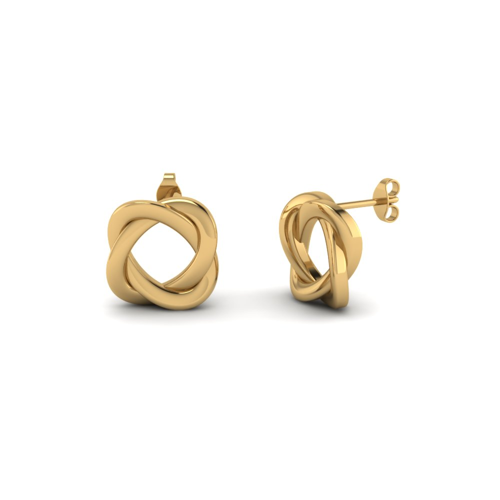 Swirl Loop Stud Earrings In 14k Yellow Gold