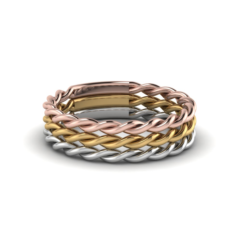tri tone rope band stackable ring fascinating diamonds