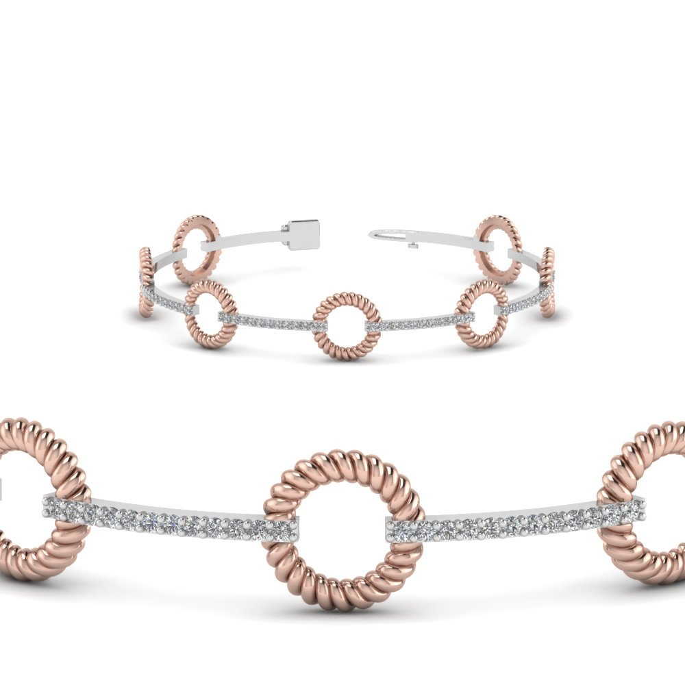 Two Tone Open Round Diamond Bracelet