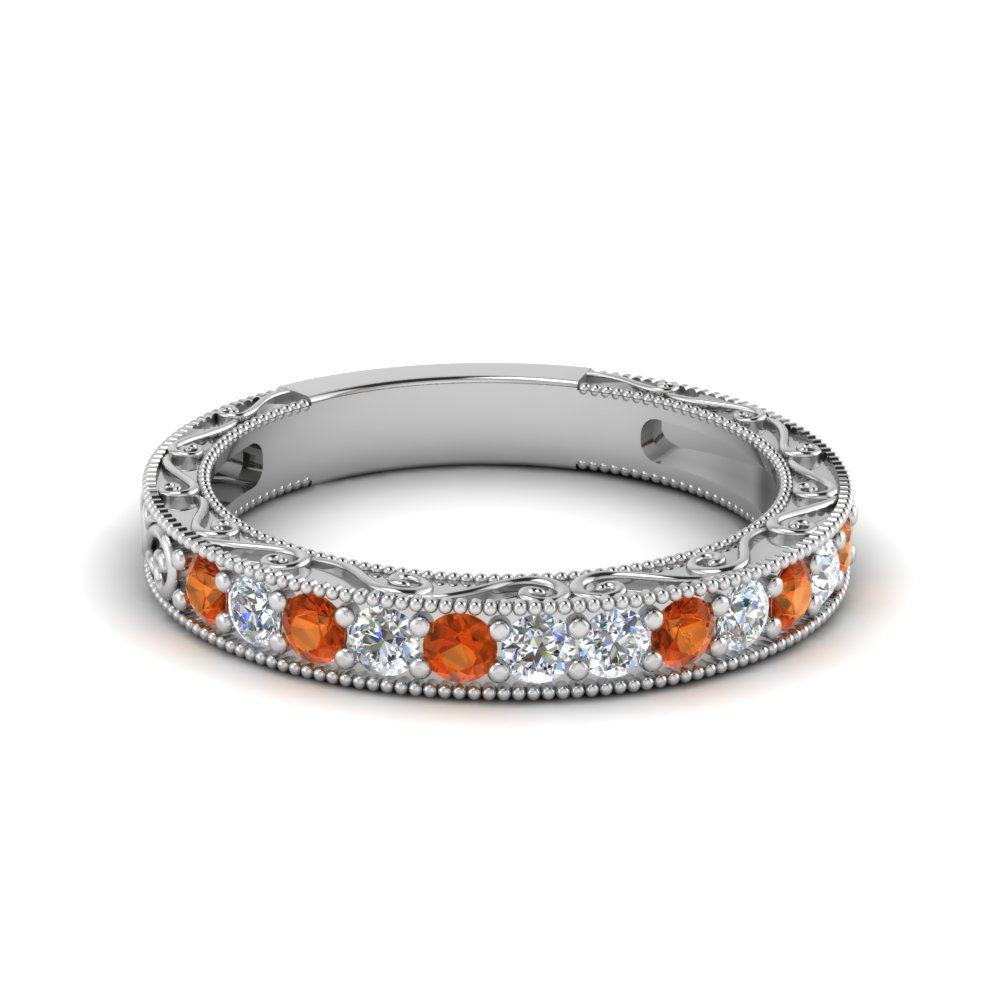 Vintage Pave Orange Sapphire Wedding Band