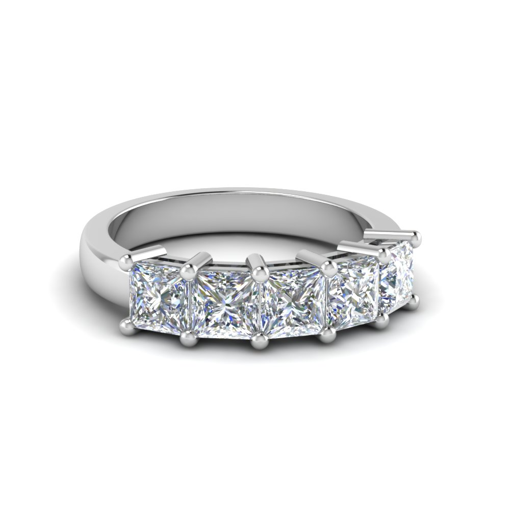 2.5 CT Princess Cut Five Stone Anniversary Ring