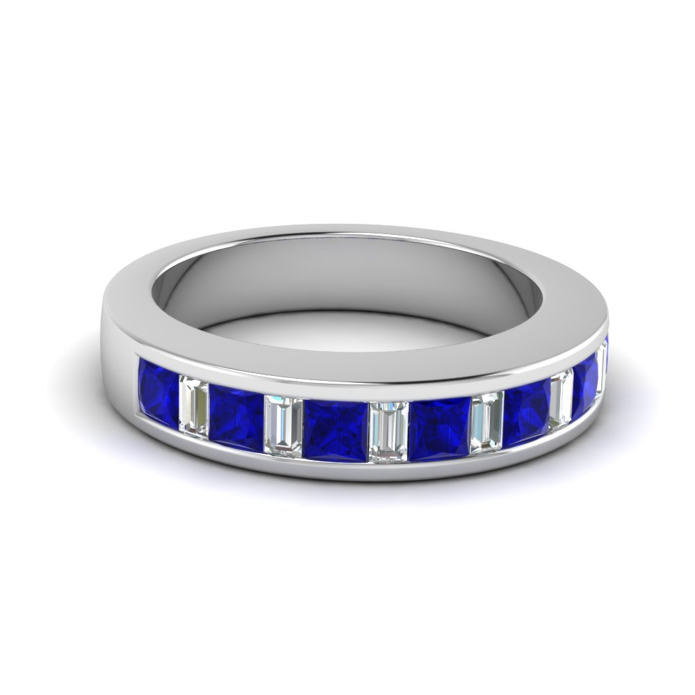 Baguette And Princess Sapphire Wedding Band For Women in Platinum